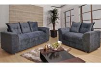 Conjunto 2x3 Lugares Cinza - Modelo Porto Tecido Suede -