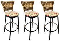 Conjunto 3 Banquetas Eleganza Cappuccino Assento Floral Red - 24