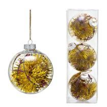 Conjunto 3 Bolas Decoradas Para Arvore 10cm Transparente Com  Festao Dourado Esp - Espressione Christmas