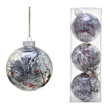 Conjunto 3 Bolas Decoradas Para Arvore 10cm Transparente Com  Festao Prata Espre - Espressione Christmas