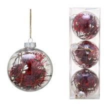 Conjunto 3 Bolas Decoradas Para Arvore 10cm Transparente Com  Festao Vermelho Es - Espressione Christmas