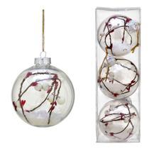 Conjunto 3 Bolas Decoradas Para Arvore 10cm Transparente Com Floco de Neve Espre - Espressione Christmas