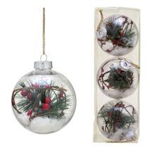 Conjunto 3 Bolas Decoradas Para Arvore 10cm Transparente Com Galho e Neve Espres - Espressione Christmas