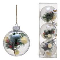 Conjunto 3 Bolas Decoradas Para Arvore 10cm Transparente Com Galho Espressione C - Espressione Christmas