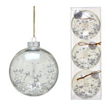 Conjunto 3 Bolas Decoradas Para Arvore 10cm Transparente Com  Prata Espressione - Espressione Christmas