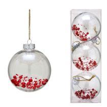 Conjunto 3 Bolas Decoradas Para Arvore 10cm Transparente Com  Vermelho Espressio - Espressione Christmas