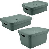 Conjunto 3 Caixas Organizadoras Com Tampa Cestos Closet Verde Eucalipto - Ou