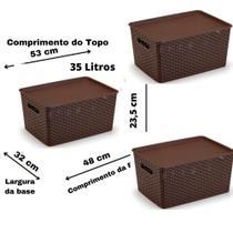Conjunto 3 Caixas Organizadoras Rattan Grande 35 Litros com Tampa Marrom - Plasnorthon