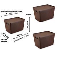 Conjunto 3 Caixas Organizadoras Rattan Grande 50 Litros com Tampa Marrom - Plasnorthon
