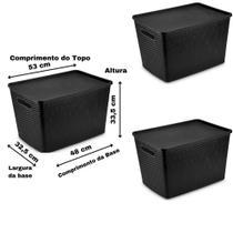 Conjunto 3 Caixas Organizadoras Rattan Grande 50 Litros com Tampa Preto - Plasnorthon
