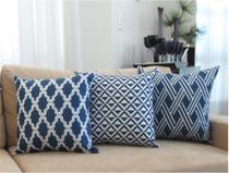 Conjunto 3 Capas para Almofadas Soft Veludo Geométrico Azul 43x43cm - Sweet Home Decor