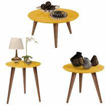 Conjunto 3 Mesas Centro / Lateral / Apoio Retrô Cissa - Amarelo - Compre Aqui - Rpm Móveis