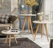 Conjunto 3 Mesas Centro Lateral E Apoio Pés Palito Retro Para Sala Off White - Beauty Móveis