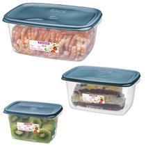 Conjunto 3 Potes Hermético Plástico Alimentos Mantimentos Geladeira - 190/6C Sanremo -