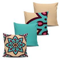 Conjunto 4 Almofadas decorativas Mandala 45x45cm com enchimento - Pano e Arte -