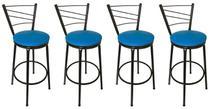 Conjunto 4 Banquetas Clássica Tubo Preto com Assento Azul - 24