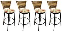 Conjunto 4 Banquetas Eleganza Cappuccino Assento Floral Red - 24