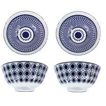Conjunto 4 Bowl Tigelas Cumbuca Porcelana 600 ml Luxo Importada Napoles CH1351-6 / 02 - Santa cecilia