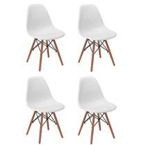 Conjunto 4 Cadeiras Charles Eames Eiffel Wood Base Madeira - Branca - Magazine Decor