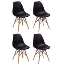 Conjunto 4 Cadeiras Charles Eames Eiffel Wood Base Madeira - Preta - Magazine Decor
