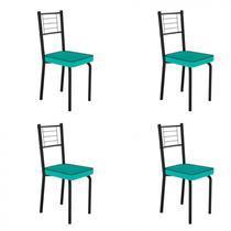 Conjunto 4 Cadeiras de Aço Juliana Art Panta Preto/Verde -
