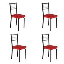 Conjunto 4 Cadeiras de Aço Juliana Art Panta Preto/Vermelho -