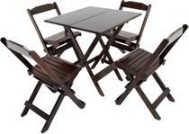 Conjunto 4 Cadeiras e 1 Mesa Dobrável De Madeira 70 x 70 - Com pintura Imbuia - Daaz Móveis