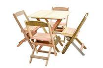 Conjunto 4 Cadeiras e 1 Mesa Dobrável De Madeira 70 x 70 - Sem Pintura - Daaz Móveis