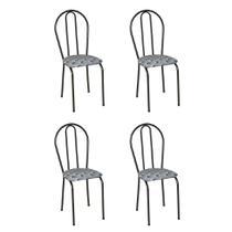 Conjunto 4 Cadeiras Hécate Cromo Preto e Estampa Capitonê - Artefamol