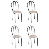 Conjunto 4 Cadeiras Hécate Cromo Preto e Estampa Rattan - Artefamol