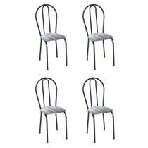 Conjunto 4 Cadeiras Hécate Cromo Preto e Linho - Artefamol