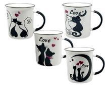 Conjunto 4 Canecas Cerâmica  Cat Gato Love Amor 340 ML - Globimport