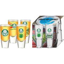 Conjunto 4 Copos Carmelot Tequila 60 ML Palmeiras Coleção - Globimport