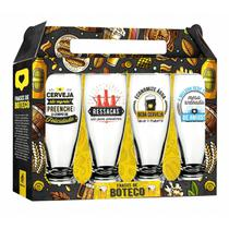 Conjunto 4 Copos Munich Cerveja Frases de Boteco 200ml Brasfoot -