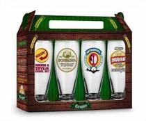 Conjunto 4 Copos Munich Sátiras Cervejas Nacionais 200ml Brasfoot -
