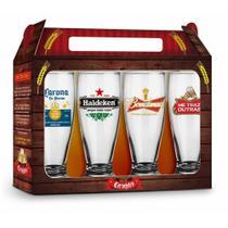 Conjunto 4 Copos Sátiras Cervejas Internacionais - 200ml - Brasfoot