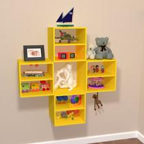 Conjunto 4 Nichos Cubo com 1 Prateleira Montana Kit Cubos Baby Siena Móveis Amarelo -