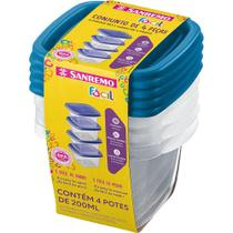 Conjunto 4 Potes Quadrado 200ml Sanremo Fácil SR120/4 -