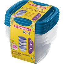 Conjunto 4 Potes Quadrado 360ml Sanremo Fácil 122/4 -