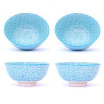 Conjunto 4 Tigelas Bowl Cumbuca Decorado 300ml Estrela Azul Ciano - Santa cecilia