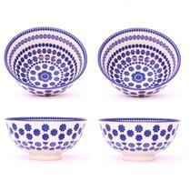 Conjunto 4 Tigelas Bowl Cumbuca Decorado 300ml Floral Azul - Santa cecilia