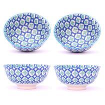 Conjunto 4 Tigelas Bowl Cumbuca Decorado 300ml Floral Cinza e Azul - Santa cecilia