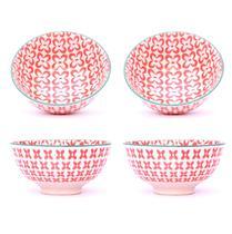 Conjunto 4 Tigelas Bowl Cumbuca Decorado 300ml Lírio Laranja - Santa cecilia