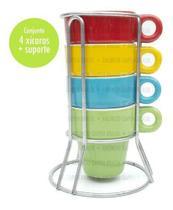 Conjunto 4 Xícaras Cafezinho Colorida Porcelana Suporte Inox - Coloridas - Rojemac