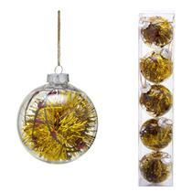 Conjunto 5 Bolas Decoradas Para Arvore 8cm Transparente Com  Festao Dourado Espr - Espressione Christmas
