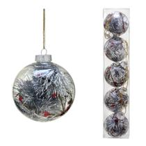 Conjunto 5 Bolas Decoradas Para Arvore 8cm Transparente Com  Festao Prata Espres - Espressione Christmas