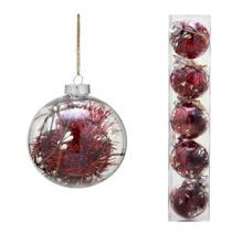 Conjunto 5 Bolas Decoradas Para Arvore 8cm Transparente Com  Festao Vermelho Esp - Espressione Christmas