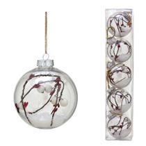 Conjunto 5 Bolas Decoradas Para Arvore 8cm Transparente Com Floco de Neve Espres - Espressione Christmas