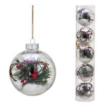 Conjunto 5 Bolas Decoradas Para Arvore 8cm Transparente Com Galho e Neve Espress - Espressione Christmas