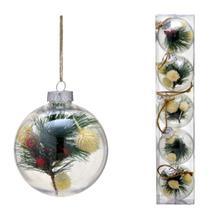 Conjunto 5 Bolas Decoradas Para Arvore 8cm Transparente Com Galho Espressione Ch - Espressione Christmas